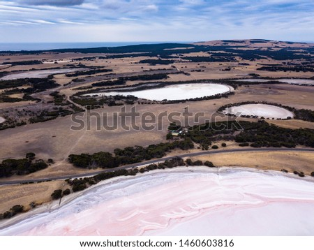 Scenic Aerial Panorama Drone Picture of the Great Salt Lagoon on Kangaroo Island in South Australia