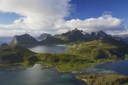 Scenic aerial view of dramatic coastline on Lofoten islands in Norway