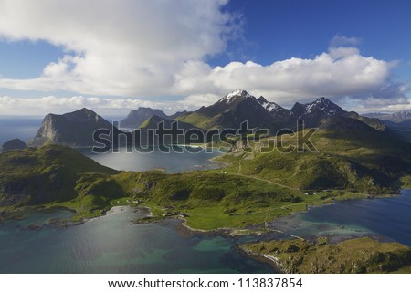 Scenic aerial view of dramatic coastline on Lofoten islands in Norway