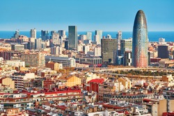 Scenic aerial view of the Agbar Tower in Barcelona in Spain