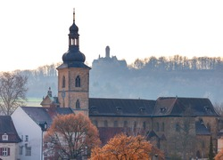 Scenic aerial view of the old city at sunset. Bamberg. Bavaria Germany.