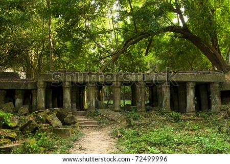 Scenic ancient Cambodian ruins in the jungle