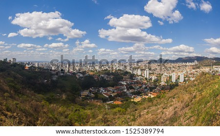 Scenic and Panoramic View of Belo Horizonte Cityscape seen from a Lookout in Raja Gabaglia Avenue During the Day, Minas Gerais, Brazil