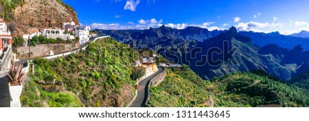 scenic Artenara  - Gran Canaria's highest mountain village. Grand Canary, Canary islands of Spain