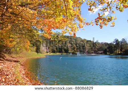Scenic autumn landscape with beautiful lake in West Virginia - stock photo