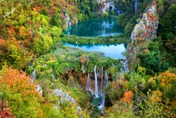 Scenic autumn landscape with lakes and waterfall in Plitvice Lakes National Park, Croatia