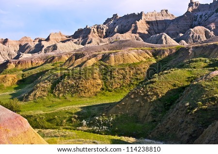 Scenic Badlands Horizontal Photography. Badlands National Park in South Dakota, USA. Nature Photography Collection.