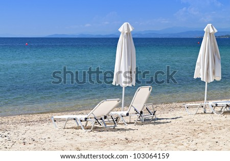 Scenic beach at Sithonia of the Halkidiki peninsula in Greece - stock photo