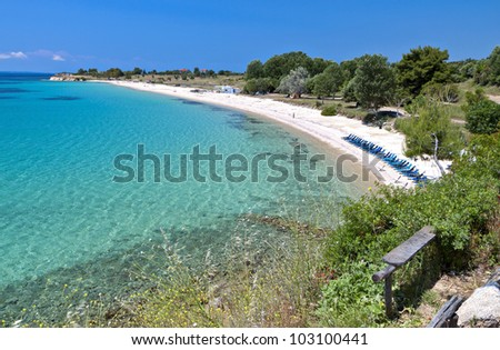 Scenic beach of Agios Ioannis at Halkidiki in Greece