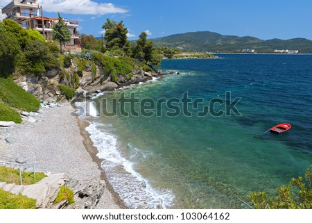 Scenic beach of Neos Marmaras at Sithonia of the Halkidiki peninsula in Greece