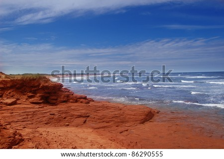 scenic beaches at the prince edward island in canada