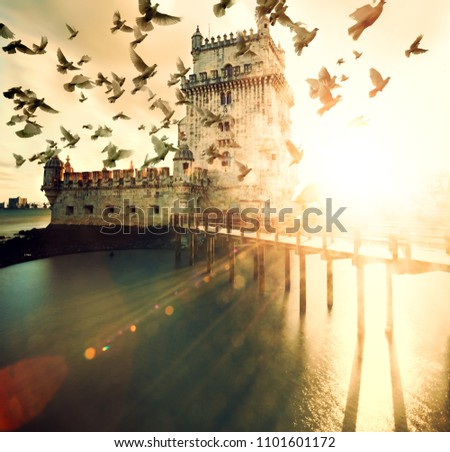 Scenic Belem tower and sunset landscape. Landmark in Lisbon,Portugal.Architecture and famous places #1101601172
