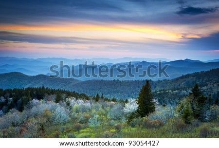 Scenic Blue Ridge Parkway Appalachians Smoky Mountains Spring Landscape with May blossoms - stock photo