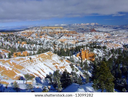 Scenic Bryce Canyon covered in snow