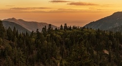 Scenic California San Bernardino National Forest Mountains Sunset. Big Bear Lake Area. United States of America.