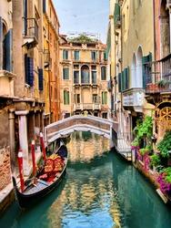 Scenic canal with gondola, Venice, Italy