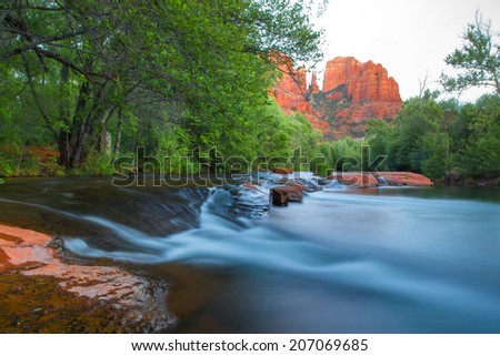Scenic Cathedral Rock formation and Oak Creek in Sedona Arizona