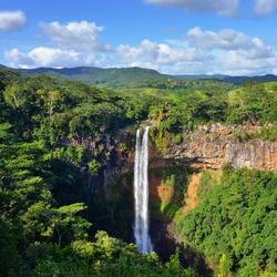 Scenic Chamarel falls in jungle of Mauritius island
