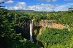 Scenic Chamarel falls in junle of Mauritius island