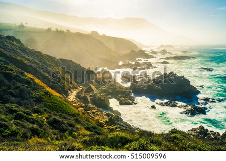 Scenic cliff and ocean view point at Big Sur,highway 1 coastline scenic road,Carmel,California with horizon turquoise crazy wave of Pacific ocean with toned color and long exposure photographic