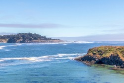 Scenic coastal landscape and rock formations on Portuguese Beach in Mendocino Headlands State Park, California