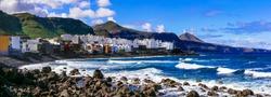 Scenic coastal village El Roque en El Pagador de Moya in Gran Canaria. Canary islands