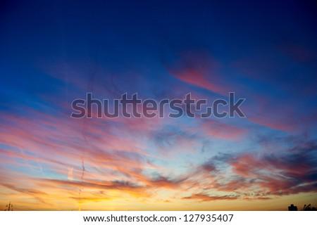 Scenic colorful sunset or sunrise background