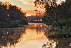 Scenic colourful sunrise over Macquarie river in Dubbo with pelikan birds floating on surface.