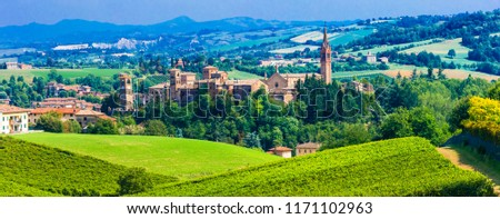 Scenic countryside and medieval village Castelvetro di Modena in Emiglia Romagna region. Italy