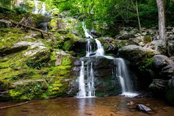 Scenic Dark Hollow Falls overview at Shenandoah National park in summer