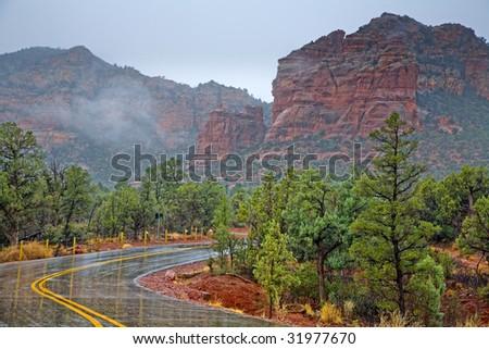 Scenic drive through Red Rocks in Sedona, Arizona in rainy weather