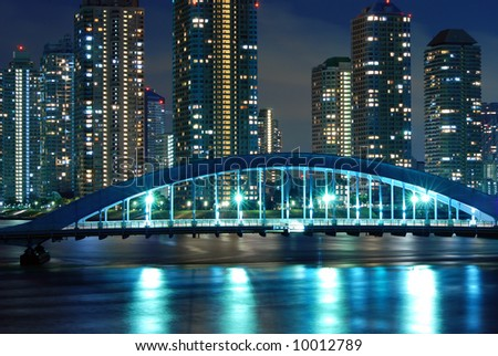 scenic Eitai bridge over Sumida river at night time, Tokyo Japan
