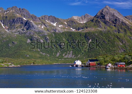 Scenic fishing village of Kalle by the fjord on Lofoten islands in Norway