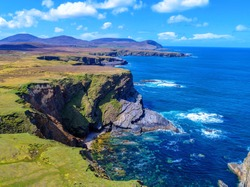 Scenic Footage from the Drone Cliffs and Atlantic Ocean view from the sky Ireland Wild Atlantic Way Mayo Ireland