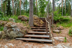 Scenic forest landscape with wooden stairway and rope railings alongside the stone nature hiking trail.