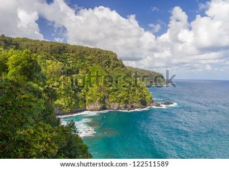 Scenic Hana coastline with Road to Hana hugging the coast, Maui, Hawaii