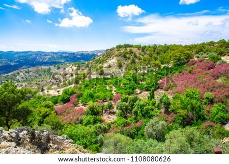 Scenic hillside on Rhodes Island, Mediterranean Sea, Greece