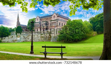 Scenic historic architecture and garden.Cantabria and Santander tourism landmark.Sobrellano palace in Comillas. Spain travel and adventures #732148678