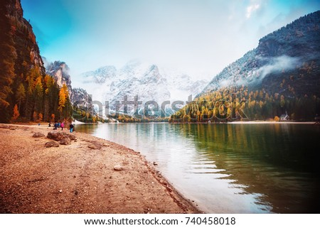 Scenic image of alpine lake Braies (Pragser Wildsee). Location Dolomiti, national park Fanes-Sennes-Braies, Italian Alps Europe. Fabulous wallpapers. Explore the beauty of earth. Tourism concept.  - Shutterstock ID 740458018