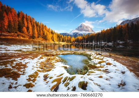 Scenic image of the lake Antorno in National Park Tre Cime di Lavaredo. Location Auronzo, Misurina, Dolomiti alps, South Tyrol, Italy, Europe. Great picture of wild area. Explore the beauty of earth. #760660270