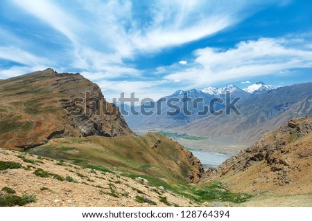 Scenic india himalayas mountains spiti valley landscape