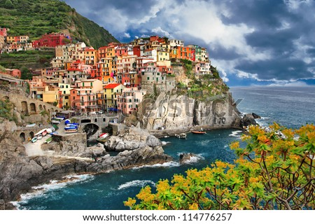 scenic Italy - pictorial Monarolla village, Cinque terre - stock photo