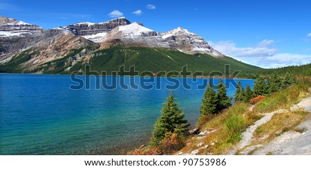 Scenic lake view seen in Banff National Park of Alberta