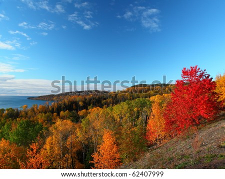 Scenic landscape in Minnesota, north shore of Lake Superior during autumn time