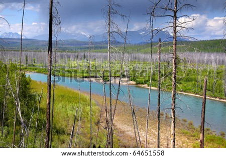 Scenic landscape in rocky mountains of Montana