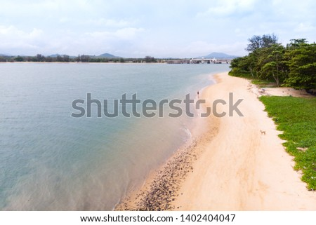 Scenic landscape of big river and reservoir dam with mountain and nature forest Zdjęcia stock ©