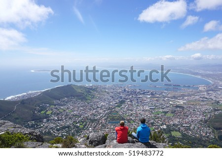 scenic landscape of Cape town from table mountain, South Africa