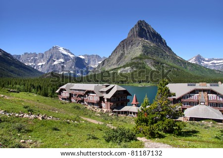 Scenic landscape of Many glaciers and resort