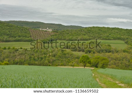 Scenic landscape of Monti Sibilini national park in Umbria, Italy #1136659502