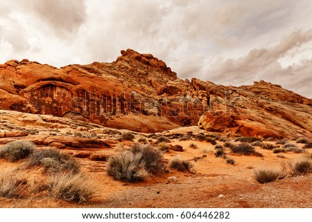 Scenic Landscape of Rock Formation at Valley of Fire State Park, southern Nevada, USA #606446282